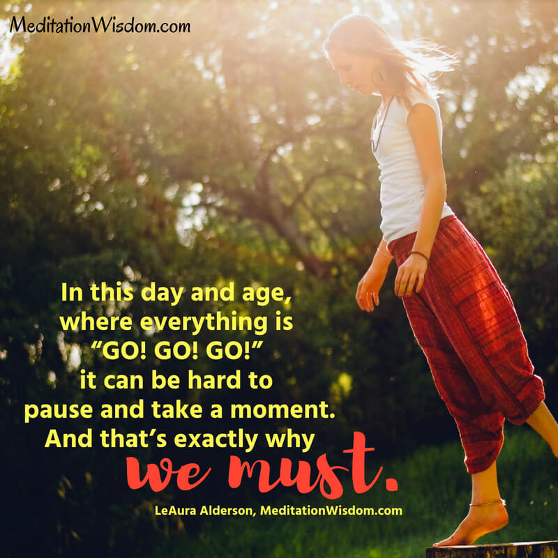 """In this day and age, where everything is """"GO! GO! GO!"""" it can be hard to pause and take a moment. And that's exactly why we must. ~LeAura Alderson, MeditationWisdom.com #bliss #peace #joy #quotes"""